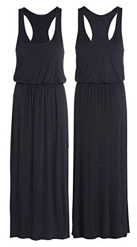[R KON Women's Maxi Dress Puffball Toga Balloon Racer Back Vest Long Dress,Black M/L] (Black Toga Dress)