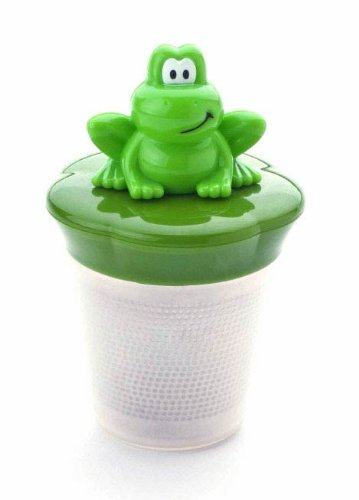 Floating Frog Tea Infuser, Green Frog lid over stainless steel infuser