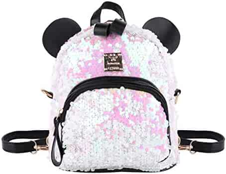 IEFIEL Girls Dazzling Sequins Bear Ears Mini Backpack Daypack Travel  Shoulder Bag White One Size 28713be206a91