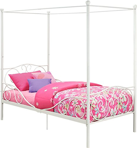 419quIOjDyL - DHP Canopy Bed with Sturdy Bed Frame, Metal, Twin Size - White