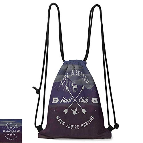 (Gym backpack Hunting Decor Grunge Hunt Club Emblem with Arrows Motivating Quote Mountains Backdrop W14
