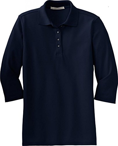 Port Authority Women's Silk Touch 3/4-Sleeve Sport Shirt - Navy L562 S
