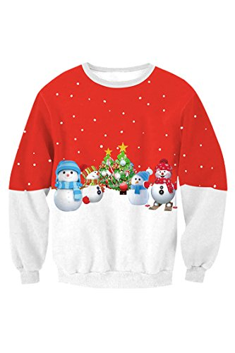 Kisscynest Women's Girls Crewneck Snowmen Print Ugly Sweater Cute Xmas Party Sweatshirt L -