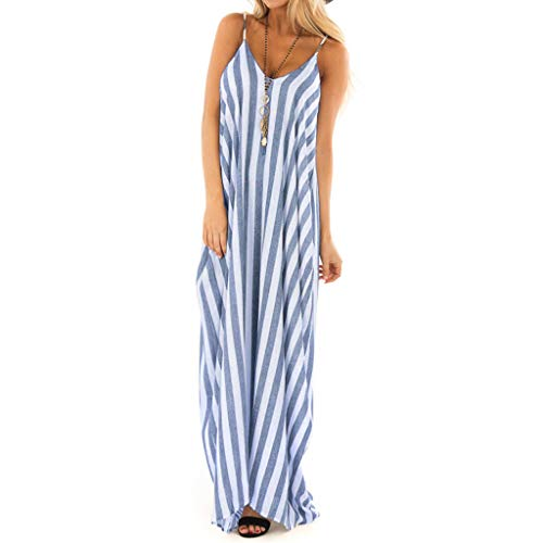 - Women's Boho Dresses Strappy Striped Long Dress Summer Beach Maxi Sundress Casual Loose Skirts V-Neck Polyester Tops