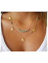 Turquoise Necklace; Set of 2 Necklaces; Layered Necklace; Gold Filled Necklace; Turquoise & Gold Necklace; Coin Necklace; Boho Necklace