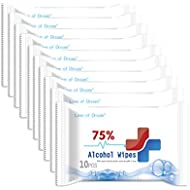 Alcohol Formula Wipes (10Pack=100pieces),75% Alcohol Cotton Slices Sterile Gauze Pads Individually Wrapped Swap Wet Wipe for Outdoor Skin Cleaning Care PAO01