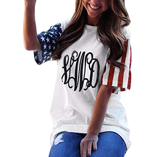 (MTENG Womens Short Sleeve Patriotic Stripes Star T-Shirt Tops Casual Summer American Flag)