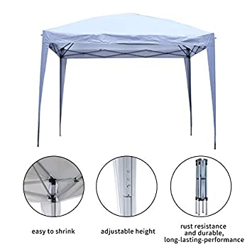 10x10ft Outdoor Instant Pop Up Canopy Tent,Portable Lightweight Folding Shade Tent Height Adjustable,Carry Bag