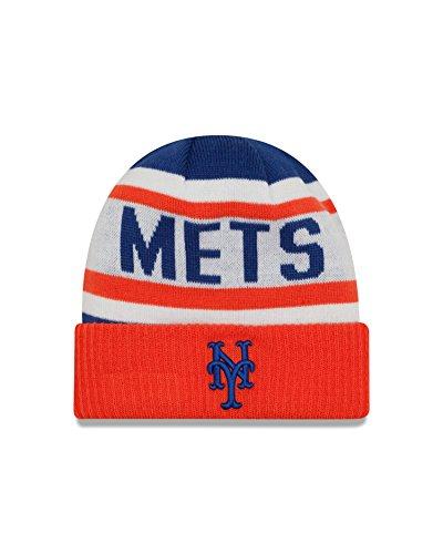 MLB New York Mets Biggest Fan 2.0 Cuff Knit Beanie, One Size, Orange -
