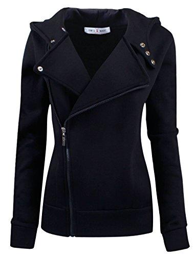 Tom's Ware Women Slim fit Zip-up Hoodie Jacket TWHD1003-BLACK-S