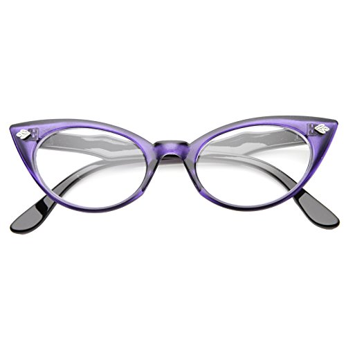 zeroUV - Retro Translucent High Point Frame Clear Lens Cat Eye Glasses 51mm (Purple / - Black Contacts Cat Eye