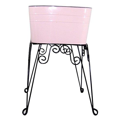 Small Pink Enamel Wash Tub & Stand