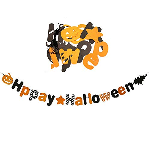 Aolvo 10Ft Happy Halloween Paper Banner DIY Halloween Party Favors Halloween Props Supplies for Home, School, Office, Bar, Cafe Decorations]()
