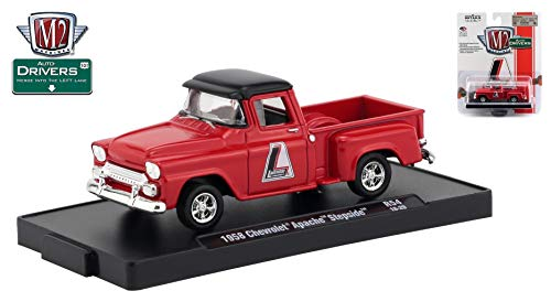M2 Machines 1958 Chevrolet Apache Step Side (Lakewood) Auto-Drivers Release 54 - Castline 2018 Special Edition 1:64 Scale Die-Cast Vehicle & Custom Display Base(R54 18-29)