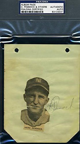 Herb Pennock Signed Vintage Album Page Autograp - PSA/DNA Certified - Autographed Baseball Cards ()