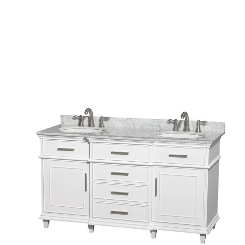 Wyndham Collection Berkeley 60 inch Double Bathroom Vanity in White with White Carrera Marble Top with White Undermount Oval Sinks and No Mirror