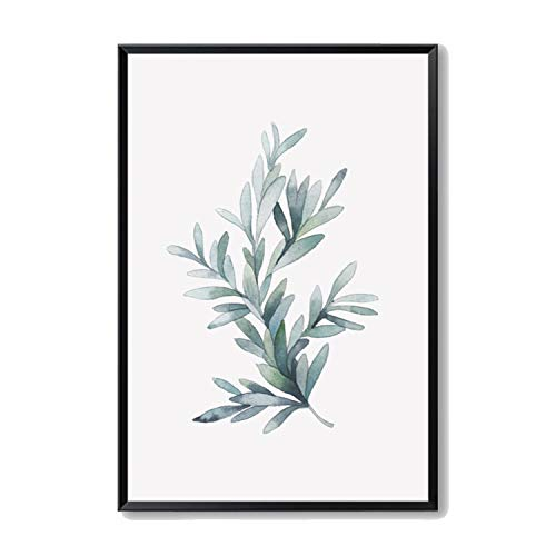 Carrie Watercolor Plant Leaves Canvas Painting Art Print Poster Picture Wall Painting Home Bedroom Wall Decoration,40x50 cm No Frame,1