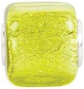 Sterling Silver 12x12mm Yellow Square Glass Bead Charm