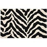 Jellybean Black & White Zebra Stripes Animal Print Accent Area Rug