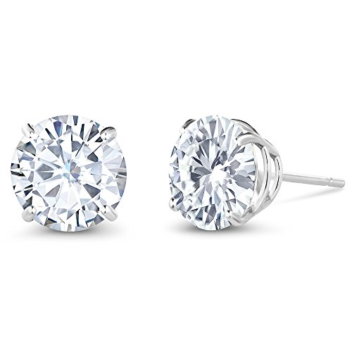 Charles& Colvard 3.00 ctw Round Moissanite Stud Earrings in 14K White Gold by Gem Stone King