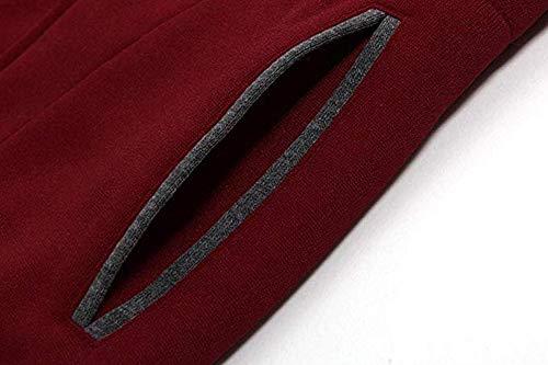 Con Inverno Daily Lunga Cappuccio Fashion Soprabito Da Rosso Manica Donna Outwear Jacket Solido Felpa Casual Autunno 0dqP0