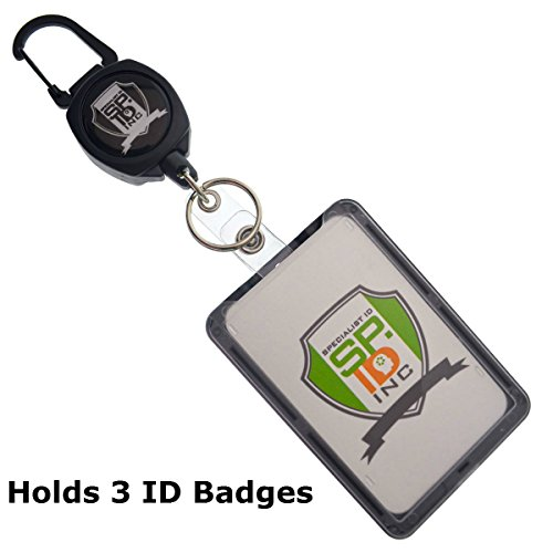 Super Heavy Duty Carabiner Badge and Key Reel with THREE Card ID Badge Holder by Specialist ID (Sold Individually, Black)