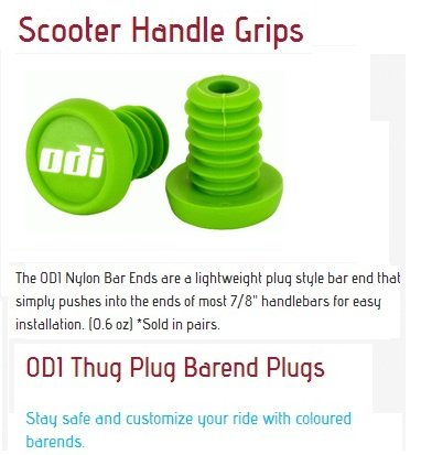 Odi Bar End Plugs For Scooters and BMX Bikes 1 Pair (Lime Green) - Odi Aluminum End Plugs