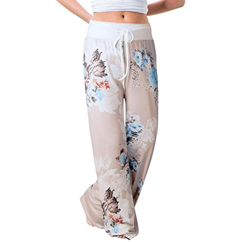(Pants for Womens, FORUU Ladies Summer Printed Drawstring Wide Leg Pants)