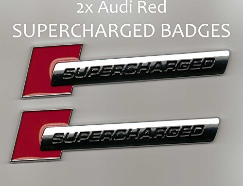 (2 Pieces - SUPERCHARGED - Red Chrome - Badge for Audi - Decal Emblem Car Sticker *** USA SELLER ***)
