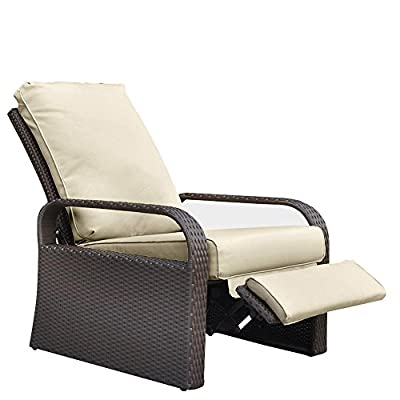 "Outdoor Patio Wicker Adjustable Recliner Chair, Rust-Resistant Aluminum Frame, with 5.11'' Cushions- Brown and Khaki - 【ULTRA COMFORTABLE & ATTRACTIVE】This wicker recliner is super comfortable,have 3 different position just use hand push the armrest 90/120/160 degree(pls check the picture). Great for Chair, recliner and Lounger. 22.8inch for Seat width,25.9inch for Seat depth,5.11"" thickness cushions bring supper comfortable for sit, even fall asleep. 【GORGEOUS HAND WOVEN】the outdoor recliner use high quality UV-Resistant resin wicker,excellent tight weave and clean bottom weave make the wicker chair looks beautiful and gorgeous for your Garden and patio,providing great protection against fading, cracking and the weather, its stylish surface marches other furniture perfectly. 【STURDY & DURABLE ALUMINUM FRAME】the patio recliner is made from aluminum which more lightweight and durable than other metals, with same color power-coated prevent the aluminum frame rusting and more beatuiful. Weight Capacity: up to 330lbs. Fashion style perfect for any home decor. - patio-furniture, patio-chairs, patio - 419qy2Nf6tL. SS400  -"