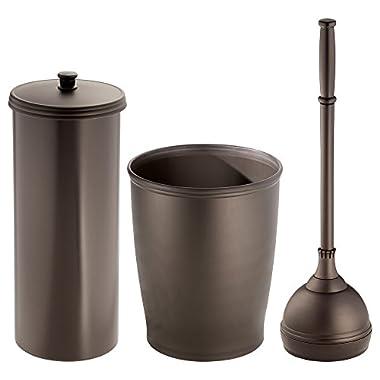 mDesign Bathroom Toilet Plunger, Toilet Paper Roll Holder, and Wastebasket Trash Can - Set of 3, Bronze