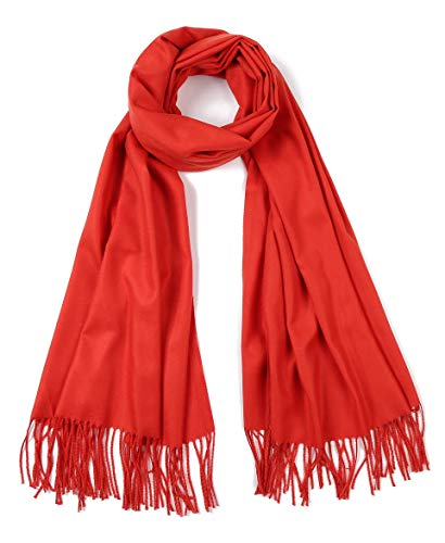 Cindy & Wendy Large Soft Cashmere Feel Pashmina Solid Shawl Wrap Scarf for Women (Rust -