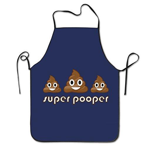 (Poop Emoji Super White Funny Unisex Kitchen Apron With Black Border)