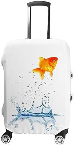 スーツケースカバー トラベルケース 荷物カバー 弾性素材 傷を防ぐ ほこりや汚れを防ぐ 個性 出張 男性と女性魚を水から飛び出す、挑戦のコンセプト