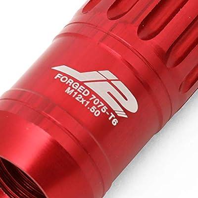J2 Engineering LN-T7-012-15-RD Red 7075 Aluminum M12X1.5 16Pcs L: 60mm Open End Lug Nut w/4Pcs Lock+Key: Automotive