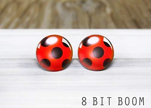 Ladybug Stud Earrings - Hypoallergenic Earrings for Sensitive - Epoxy Miraculous