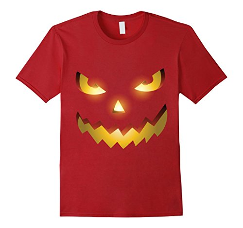 [Mens The Official Scary Face Halloween Costume Tee Shirt 2XL Cranberry] (Simple Halloween Costumes Scary)