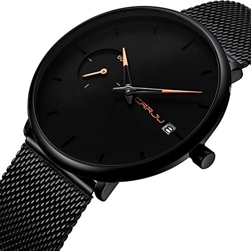 Classic Black Wacth Men Stylish Casual Analog Quartz Wristwatches with Date Black Mesh Stainless Steel Band 2258