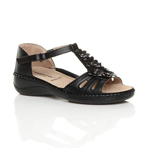 Komfort Schwarz Low Absatz Mid Sandalen Ladies Blume Riemchen Wedge Ajvani Größe Womens E8XPTq8w