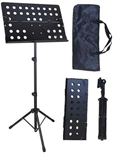 Audio2000'S S4382B Portable Folding Steel Sheet Music Stand with Carrying Bag-Black ()