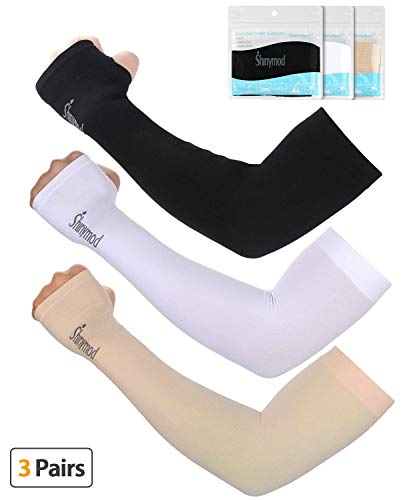 SHINYMOD UV Protection Cooling Arm Sleeves for Men Women Sunblock Cooler Protective Sports Running Golf Cycling Basketball Driving Fishing Long Arm Cover Sleeves (3 Pairs (Black+White+Beige))