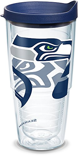 (Tervis 1290796 NFL Seattle Seahawks Tumbler With Lid, 24 oz, Clear)