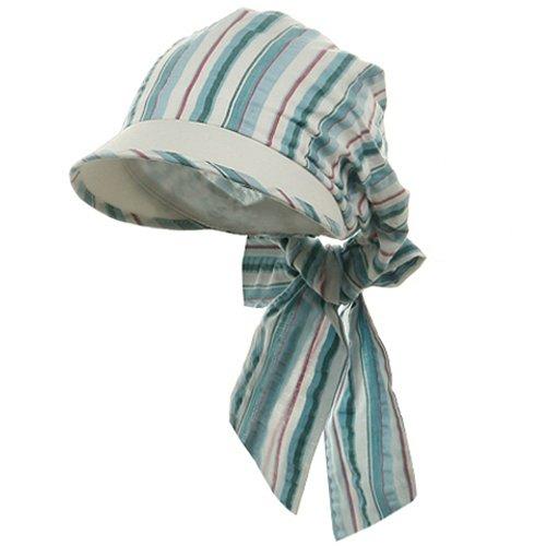- e4Hats.com Striped Seersucker Cap-Blue OSFM