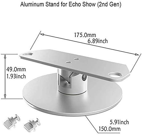 ATOPHK Echo Show Supporter Aluminium Pivot Supporter pour  Nouveau Echo Show 2e g/én/ération Orateur Accessoires Horizontal 360 Rotation Longitudinal Angle Changement Base Paresseux Susan Argent