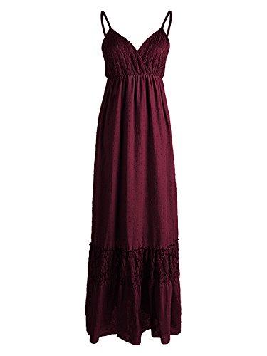 Anna-Kaci Womens Adjustable Spaghetti Strap Sleeveless Long Lace Boho Dress, Burgundy, X-Large