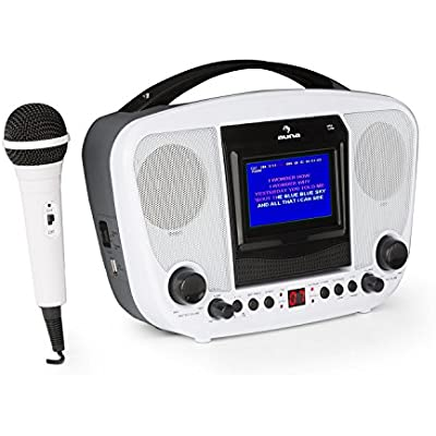 AUNA KaraBanga Karaoke System Microphone TFT Colour Display 4 3  Screen Bluetooth Video Out Separate Volume Controls for and Microphone Audio Cable and Demo Disc White