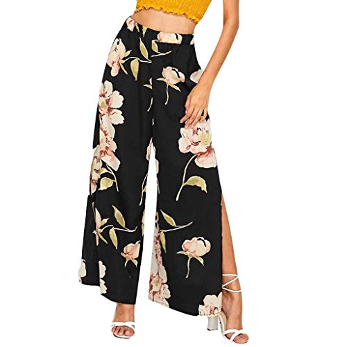 Sunday88 Womens Floral Print High Waisted Wide Leg Shorts Split Palazzo Culottes Pants with Belt Black