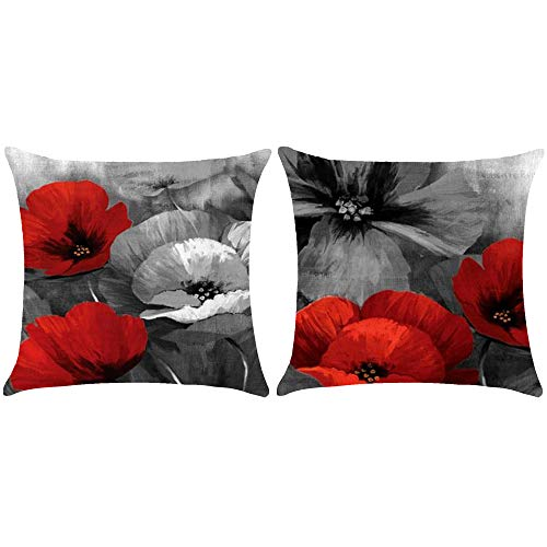 (WePurchase Set of 2 Hand Painted Ink Painting Red Gray Retro Poppy Flowers Mother's Day Decoration Cotton Linen Decorative Home Sofa Living Room Throw Pillow Case Cushion Cover Square 18x18)