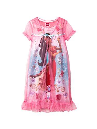 Elena of Avalor Girl's Peignoir Nightgown Pajama Set (8, Coral) -