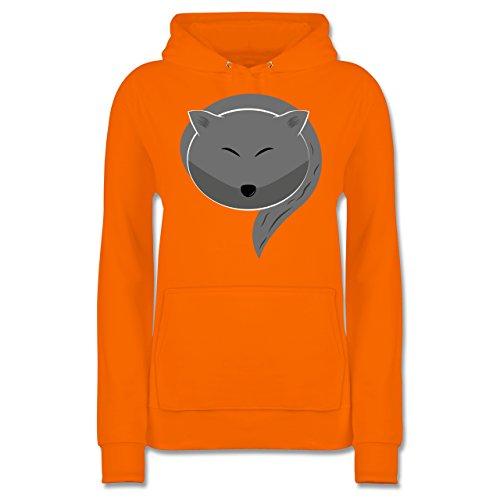 bd1a53d223510c Eulen Füchse amp; Co Kleiner Wolf Damen Hoodie Orange YKxeI ...